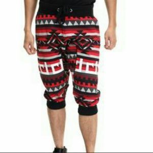 Akademiks Below Knee Red Black Aztec Joggers Sz XL